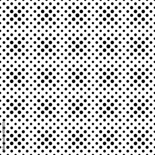 Seamless pattern of black dots, circles