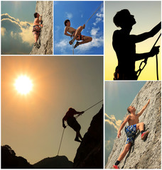 Collage of climbers on the rock