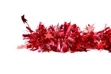 Christmas red tinsel.