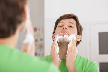 Applying shaving cream