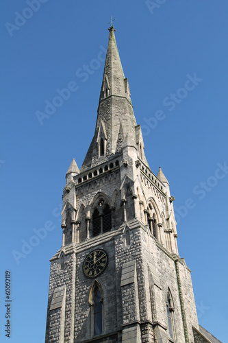 A Beautiful Church Tower with a Spire Top.