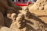 PERM - JUNE 10: Sand sculpture Lenin at festival White Nights poster