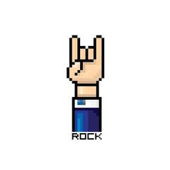 vector pixel art hand sign rock n roll music button