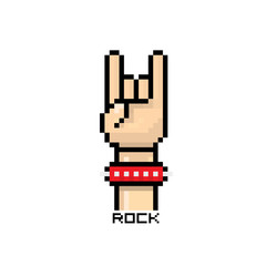 vector pixel art hand sign rock n roll music button