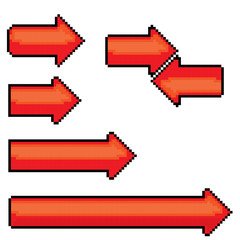 red pixel style arrow sign or button for web design