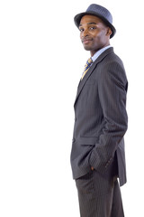 young black businessman side view on white background