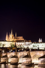 Prague Castle and Charles Bridge with black background