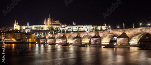 Panorama of Prague Castle and Charles Bridge at night