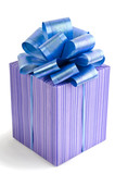 Purple gift box with a blue bow