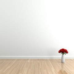 Empty interior with rose,  High-resolution 3d rendering