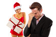 girlfriend seducing broke or stressed boyfriend on christmas