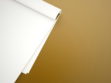 Blank note book rendered on yellow