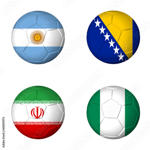 Soccer world cup 2014 group F flags on soccerballs