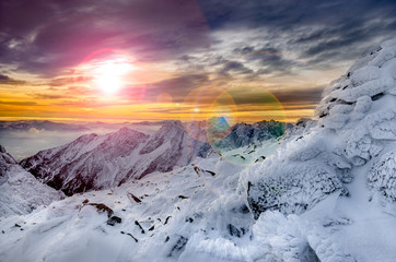 Winter mountains scenic view with frozen snow and icing