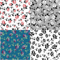 Set templates with floral patterns