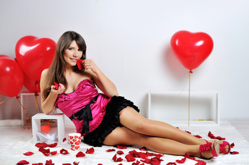 Valentines day woman and cup