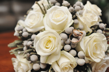 bridal bouquet of white roses