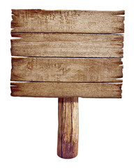 Wooden road sign board. Old post panel made from wood isolated o