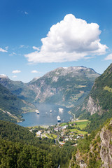 Cruise ships in Geiranger seaport, Norway.