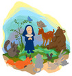 A nun is preaching truth to animals in the wood