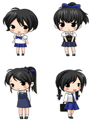 Cute Thai schoolgirl sprite icons