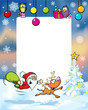 vector christmas frame with funny santa claus and reindeer