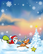 vector christmas background with funny santa claus