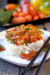 Chinese vegetables in sweet and sour sauce