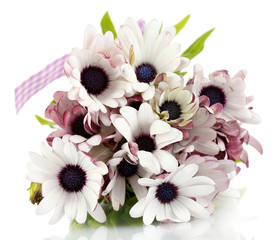bouquet of beautiful summer flowers, isolated on white