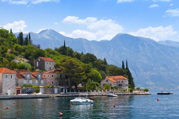 Perast town coastal landscape, Bay of Kotor, Montenegro