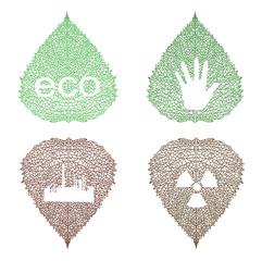 eco symbols on openwork leaves