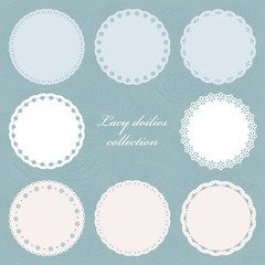 Set of cute lacy doilies in pastel colors.