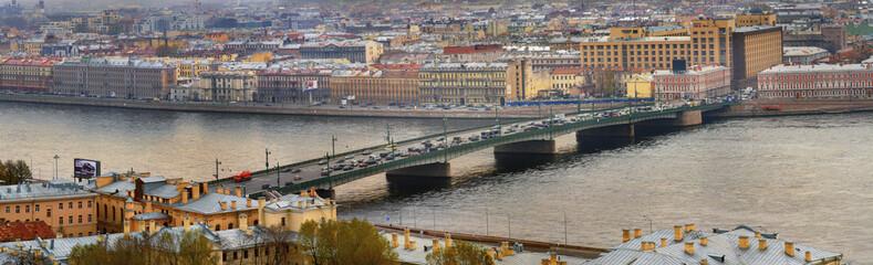 Russia, St. Petersburg, a drawbridge over Neva river.
