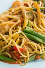 Stir fried spicy spaghetti