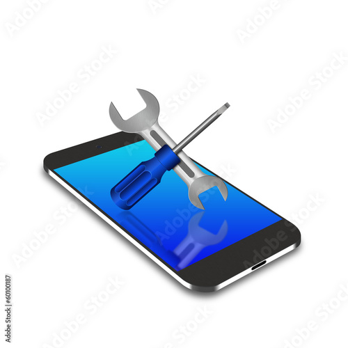 Screwdriver and wrench on smartphone,cell phone illustration