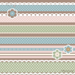 Scrapbook set with lace sewn on to the fabric.