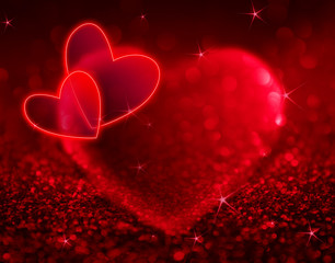 red hearts with shining and stars for Valentine day