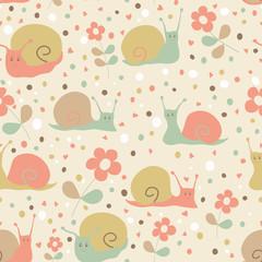 Snail seamless pattern.