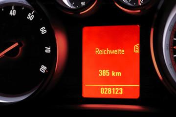 Reichweite mit vorhandenem Kraftstoff