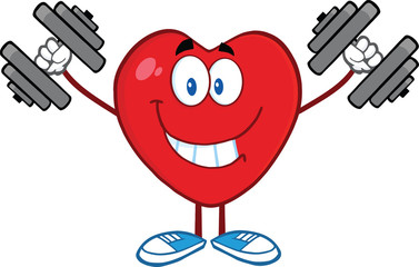 Smiling Heart Cartoon Mascot Character Training With Dumbbells