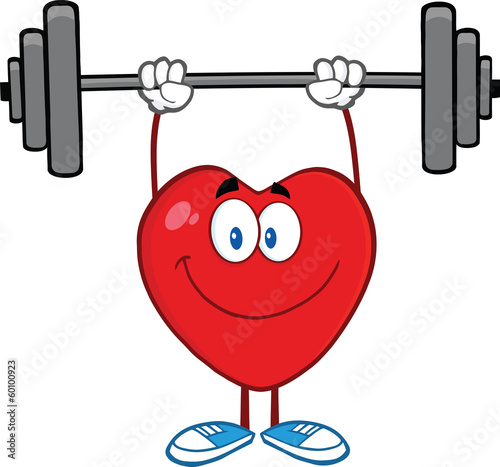 Smiling Heart Cartoon Mascot Character Lifting Weights