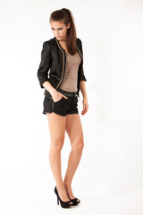 shorts and jacket