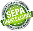 """Button Banner """"SEPA Umstellung"""" August grün/silber"""