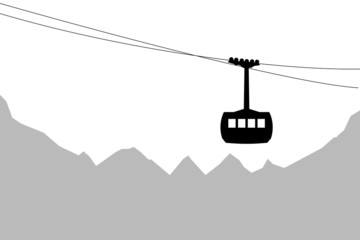 Cabin cableway with mountains in background