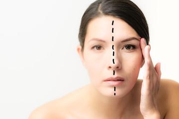 Geteiltes Gesicht einer Frau - Alterungsprozess