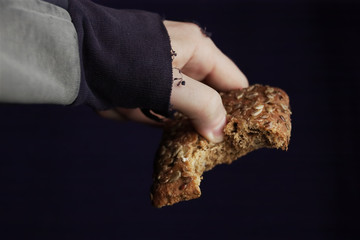 hand with bread