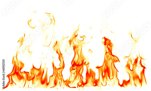 In de dag Vuur / Vlam Fire flames isolated on white background
