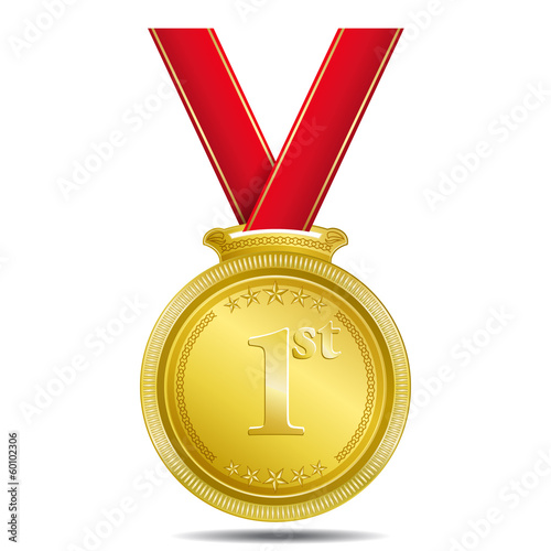 Gold Medal 1st Position Medal Vector Icon
