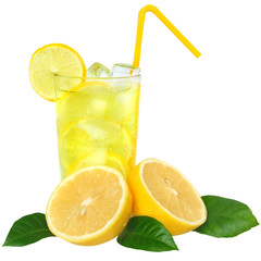 Lemonade with ice cubes and sliced lemon with leaf