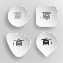 Graduation cap. White flat vector buttons on gray background.